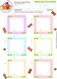 Practicamos trazos de formas cuadradas de arriba hacia abajo y de izquierda a derecha. Ficha imprimible de motricidad fina