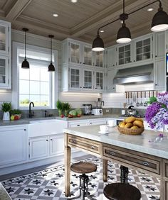 Luxury Kitchen 2 Provence Style Apartment Designs With Floor Plans - These dreamy French-inspired apartments would be the perfect European retreat in any country. Country Kitchen, New Kitchen, Kitchen Decor, Kitchen Rustic, Rustic Table, Kitchen Island, Ikea Island, Kitchen Cook, Rustic Kitchens