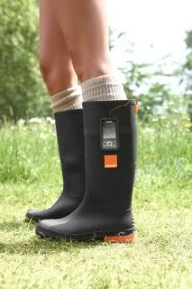 Orange Power Wellies use the heat from your feet to charge your cellphone.