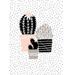 Hand drawn cactus poster vector