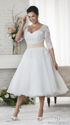 08218ef80f5 bonny bridal 2017 half sleeves sweetheart neckline heavily embellished plus  size tea length short wedding dress