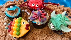 Bring sweet smiles with sea creature buttercream cupcakes. Sea turtle, crabs, fish, clam with pearl, and octopus cupcakes - made with ingredients from your local grocery store.