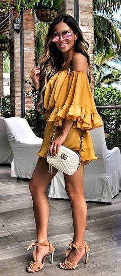#summer #outfits Mustard Off The Shoulder Romper + White Shoulder Bag