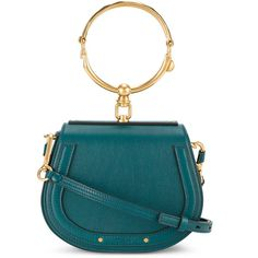 Chloé small Green Nile bracelet bag (53,825 THB) ❤ liked on Polyvore featuring bags, handbags, green, green handbags, real leather handbags, leather purses, genuine leather handbags and chloe handbags
