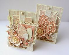 pair of handmade Spring/Easter cards ... soft neutral colors .. die cut eggs ... lush layers of die cuts ...