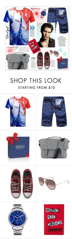 """Rosegal"" by natalyapril1976 ❤ liked on Polyvore featuring David Jones, Folio, The British Belt Company, Converse, Ray-Ban, Valentino, men's fashion and menswear"