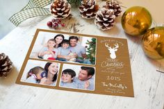 Here is our latest Christmas card we call it Country Style. Comes in Wood Grain or Burlap and sports a big trophy buck along with your family photos. #christmascards