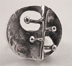Alpo Tammi for Tammen Koru, vintage silver nature-themed ring, 1971. #Finland | Koruvuokraamo.fi