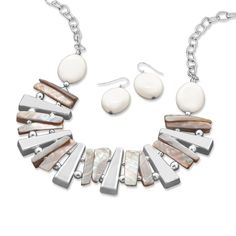 Silver Tone Spike Fashion Necklace and Earring Set with Shell