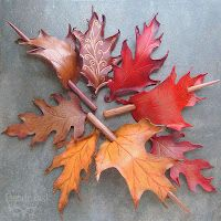 Leather leaf hair accessories