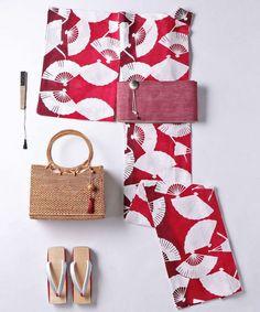 kimono(キモノ)の「【WEB限定】<KAGUWA(カグワ)>扇子 浴衣(着物/浴衣)」|レッド