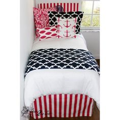 Nautical Navy Quatrefoil Designer Teen Woman & Dorm Room Bedding Set. >> Find out more by clicking the picture