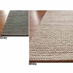 @Overstock - Inspired by traditional hand-knitting, the thick strands of luxurious New Zealand wool are braided together to create this unique cable area rug. The pattern is centuries old and features natural thick-core yarns that complement modern interiors.http://www.overstock.com/Home-Garden/Handmade-Braided-Alexa-Cable-White-New-Zealand-Wool-Rug-3-x-5/5187249/product.html?CID=214117 $105.99