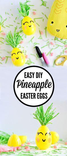 SO cute! Making these Easy DIY pineapple easter eggs from Hello Splendid