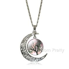 $1.99 1Pc Women Retro Moon Cabochon Glass Life Tree Pendants Necklaces Clavicle Chain Jewelry Accessories - BornPrettyStore.com. Use my code PQL91 for 10% off! (not vaild on sale items)