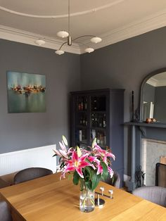 Little Greene Paint. Mid lead grey - Selina ignore the image just see the contrast between mid lead and the darkness similar to anthracite on the cupboard in the corner.
