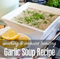 The flavor of garlic is mellowed out in this immune boosting garlic soup recipe. It feel great on a sore throat and is delicious with gluten free crackers :)