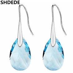 SHDEDE Mode Bijoux Boucles D'oreilles Bleu Cristal de Swarovski Or Blanc Plaqué Long Pendentif Goutte D'eau Balancent Boucle D'oreille Pour Les Femmes