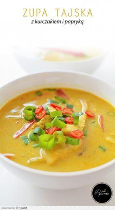 Pikantna tajska zupa z kurczakiem i papryką. na Stylowi.pl Thai Recipes, Soup Recipes, Diet Recipes, Japanese Food, Thai Red Curry, Food And Drink, Tasty, Lunch, Cooking