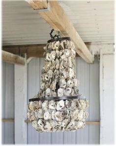 Vintage Iron Oyster Shell CHANDELIER beach cottage Hand Made light fixture #TheKingsBay #nauticalbeach