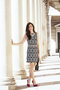 I love this geometric print dress, especially with the metallic belt and bright pop of color from the heels.