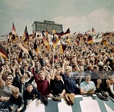 July 1966 World Cup Quarter Final at Hillsborough, Sheffield, West Germany 4 v Uruguay German supporters cheering the first goal for West Germany 1966 World Cup, Sheffield Wednesday, Sport Football, Looking Back, Finals, Germany, England, Stock Photos, Owls