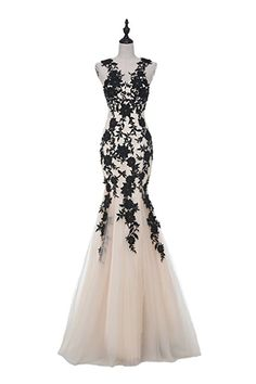 This beautiful net dress have black embroidery on it. For prom. Check out for details. Note:  this is affiliate link.