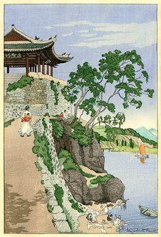torii gallery: Riverside, Pyeng Yang, Korea by Elizabeth Keith Illustrator, Japan Landscape, Korean Art, Traditional Paintings, Japanese Painting, Japanese Prints, Japan Art, Chinese Art, Lovers Art
