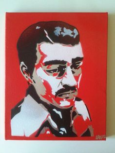 Excited to share the latest addition to my #etsy shop: Jesus Malverde painting stencil art spray paint art canvas wall art religion Mexico folk generous bandit angel of poor narco-saint Sinaloa http://etsy.me/2iox0FC