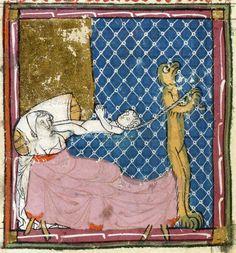 Matfre Ermengau, Breviari d'amor, Occitania 14th century  BnF, Français 857, fol. 197v. Pulling out the soul.