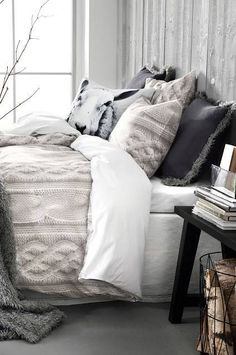 Cozy Winter Bedroom Decor - Discover home design ideas, furniture, browse photos and plan projects at HG Design Ideas - connecting homeowners with the latest trends in home design & remodeling Cozy Bedroom, Dream Bedroom, Bedroom Ideas, Modern Bedroom, Coziest Bedroom, Winter Bedroom Decor, 1930s Bedroom, Cosy Room, Bedding Master Bedroom
