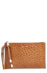 Michael Kors 'Harlow' Ostrich Embossed Leather Clutch