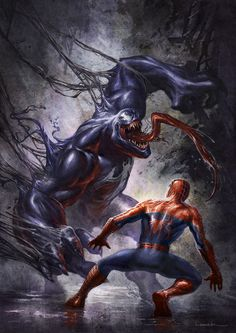 Spiderman and Venom by Aaron Limonick Amazing Spiderman, All Spiderman, Spiderman Kunst, Batman, Spiderman Symbiote, Spiderman Sketches, Marvel Dc Comics, Marvel Venom, Marvel Vs