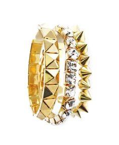 Gold Plated Strechable Crystal Bracelet 3 Pieces Set B-0014-G