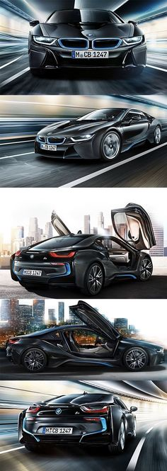 The BMW hybrid plug in with gullwing doors. Com Jues with Louis Vuitton luggage, too. Fancy Cars, Cool Cars, Porsche 918 Spyder, Louis Vuitton Luggage, Bmw I8, Futuristic Cars, Bmw Cars, Amazing Cars, Sport Cars
