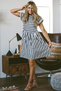 5b1e33ddc8 Bib Dress - cladandcloth. Striped Summer DressesCotton ...