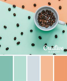 Thinking this color palette for tops/skirts or maxi dress Summer Color Palettes, Color Schemes Colour Palettes, Pastel Colour Palette, Colour Pallette, Summer Colors, Pastel Colors, Color Combos, Pastel Mint, Color Tones