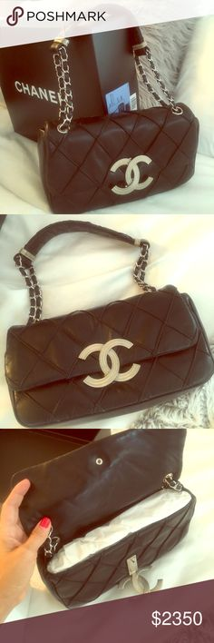 Brand new chanel bag Brand new chanel bag! Black leather with silver hardware. Never used. CHANEL Bags Shoulder Bags
