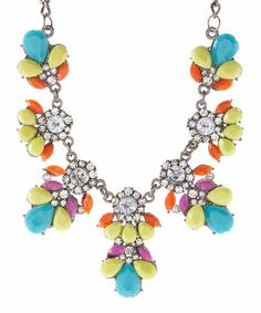 This Turquoise & Yellow Floral Drop Leaf Necklace by Valshi is perfect! #zulilyfinds
