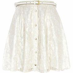 Cream lace button down skater skirt - skater skirts - skirts - women
