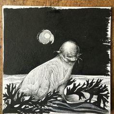 Ocean Child ~ Swimming in moonlight Art