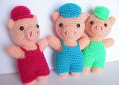 Amigurumi Three Little Pigs, Crochet Three Little Pigs, Amigurumi Toy, Amigurumi Pigs,Crochet Plush, Amigurumi Softies, Amigurumi Animal