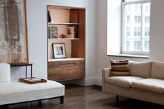 Modern timeless design executed with heirloom quality craftsmanship. Custom solid wood furniture tailor made in Brooklyn, New York by furniture designer Piet Houtenbos. Great Jones Library in walnut with corianders shelves. Furniture Making, Modern Furniture, Furniture Design, Interior And Exterior, Interior Design, Beautiful Space, Storage Cabinets, Built Ins, Shelving