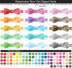 Love these rainbow watercolor bow tie clipart for my baby shower games and decorations. Baby Shower Printables, Baby Shower Games, Rainbow Colors, Packing, Clip Art, Bows, Decorations, Watercolor, Tie