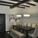 L2 Interiors - Spanish Colonial Open concept dining room with wall texture