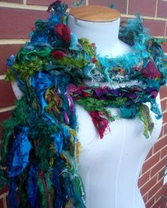 Recycled Sari Silk Ribbon Scarf Hand Crocheted