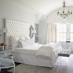 white glam bedroom.