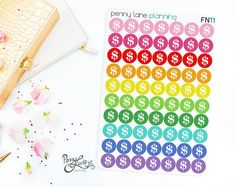 Dollar Sign Planner Stickers // FN11 // Removable Matte Planner Stickers