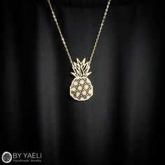 Fruit necklace, unique necklace, geometric necklace, pineapple... ($45) ❤ liked on Polyvore featuring jewelry, necklaces, pineapple necklace, yellow gold necklace, pineapple jewelry, long geometric necklace and geometric necklace