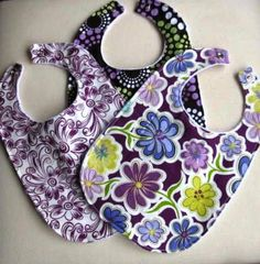 Girls Baby Bibs Set of 3 Purple Daisy Dance and by TootandPuddle, $21.00